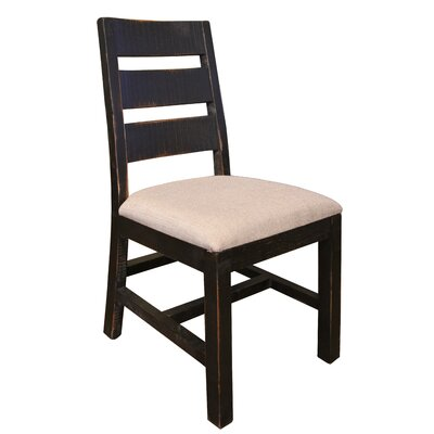 Pueblo Solid Wood Dining Chair Upholstery Color: Gray, Frame Color: White