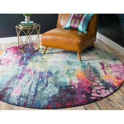 Darrick Blue/Red Area Rug Rug Size: Round 8