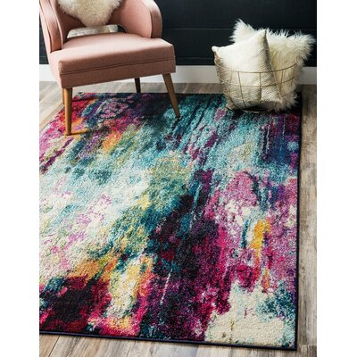 Darrick Blue/Red Area Rug Rug Size: Rectangle 8 x 10