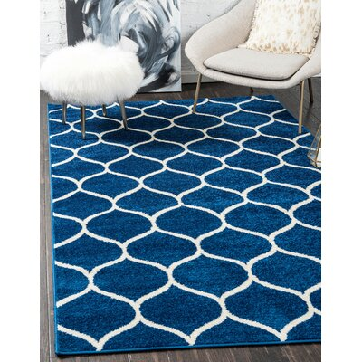 Easter Compton Trellis Blue Area Rug Rug Size: Rectangle 8 x 10