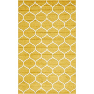 Easter Compton Trellis Yellow Area Rug Rug Size: Rectangle 5 x 8