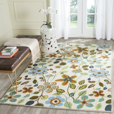 Aldridge Hand-Hooked Indoor/Outdoor Ivory Area Rug Rug Size: Rectangle 5 x 8