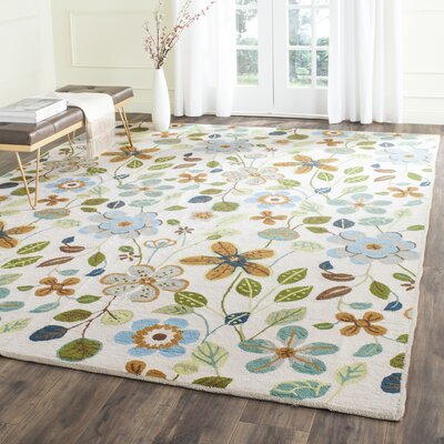 Aldridge Hand-Hooked Indoor/Outdoor Ivory Area Rug Rug Size: Rectangle 8 x 10