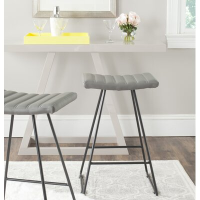 Lakeside Green 26.8 Bar Stool Upholstery: Gray