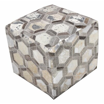 Chesapeake Square Leather Ottoman Upholstery: Silver Hexagon