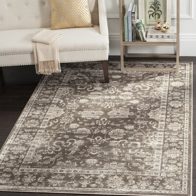 Rindge Brown/Ivory Floral Area Rug Rug Size: Rectangle 51 x 77