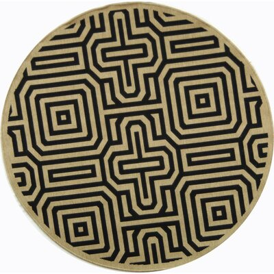 Jefferson Place Sand & Black Outdoor Area Rug Rug Size: Round 53