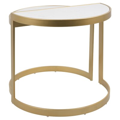 Kewstoke 2 Piece Nesting Tables Color: White Marble