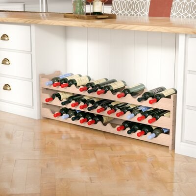 Karnes Pine Scalloped 36 Bottle Tabletop Wine Rack Finish: Natural
