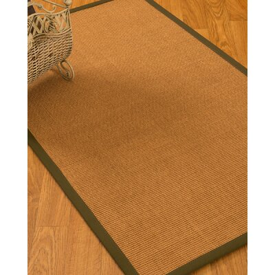 Kelson Border Hand-Woven Brown/Olive Area Rug Rug Size: Rectangle 4 x 6