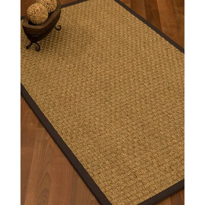 Kennerson Basketweave Border Hand-Woven Brown Area Rug Rug Size: Rectangle 5 x 8, Rug Pad Included: Yes