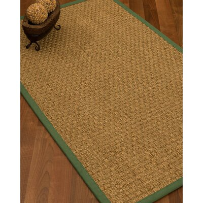 Antiqua Border Hand-Woven Beige/Green Area Rug Rug Size: Rectangle 9 x 12, Rug Pad Included: Yes