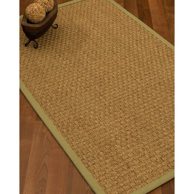 Antiqua Border Hand-Woven Beige/Khaki Area Rug Rug Size: Rectangle 8 x 10, Rug Pad Included: Yes