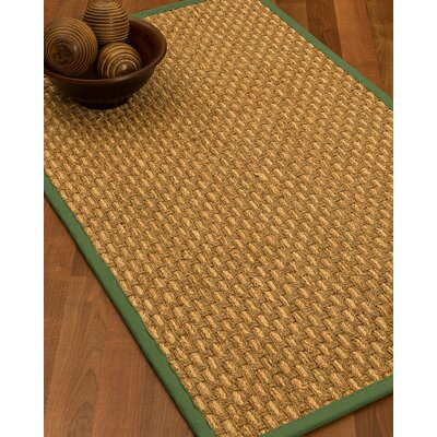 Castiglia Border Hand-Woven Beige/Green Area Rug Rug Size: Runner 26 x 8, Rug Pad Included: No