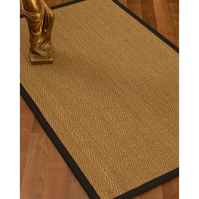 Mahaney Border Hand-Woven Beige/Black Area Rug Rug Size: Rectangle 3 x 5, Rug Pad Included: No