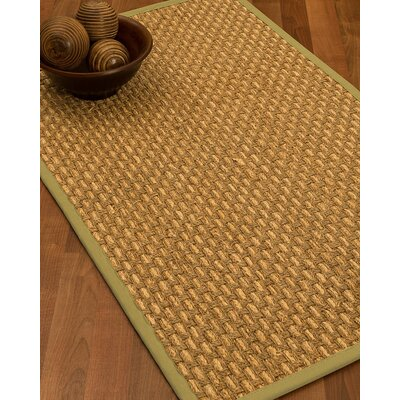 Castiglia Border Hand-Woven Beige/Khaki Area Rug Rug Size: Runner 26 x 8, Rug Pad Included: No