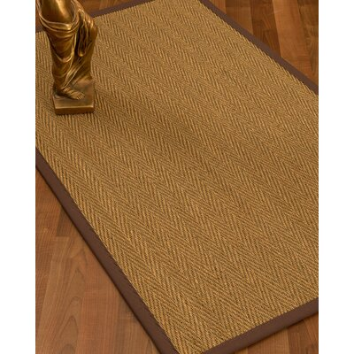 Mahaney Border Hand-Woven Beige/Brown Area Rug Rug Size: Rectangle 9 x 12, Rug Pad Included: Yes