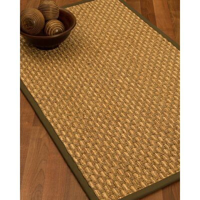 Castiglia Border Hand-Woven Beige/Malt Area Rug Rug Size: Rectangle 5 x 8, Rug Pad Included: Yes