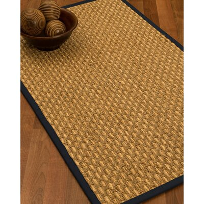 Castiglia Border Hand-Woven Beige/Midnight Blue Area Rug Rug Size: Runner 26 x 8, Rug Pad Included: No