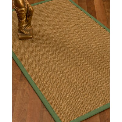 Mahaney Border Hand-Woven Beige/Green Area Rug Rug Size: Rectangle 4 x 6, Rug Pad Included: Yes