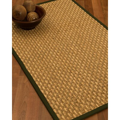 Castiglia Border Hand-Woven Beige/Moss Area Rug Rug Size: Rectangle 9 x 12, Rug Pad Included: Yes