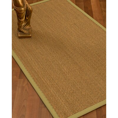 Kenner Border Hand-Woven Brown/Khaki Area Rug Rug Size: Rectangle 8 x 10, Rug Pad Included: Yes