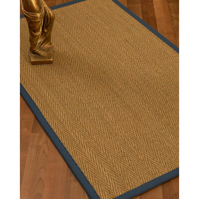 Mahaney Border Hand-Woven Beige/Marine Area Rug Rug Size: Runner 26 x 8, Rug Pad Included: No