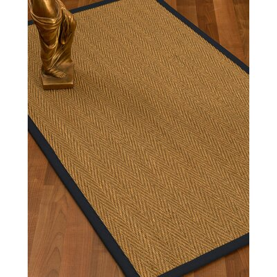 Mahaney Border Hand-Woven Beige/Midnight Blue Area Rug Rug Size: Rectangle 6 x 9, Rug Pad Included: Yes