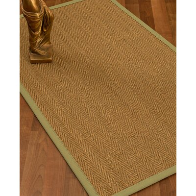 Mahaney Border Hand-Woven Beige/Natural Area Rug Rug Size: Rectangle 6 x 9, Rug Pad Included: Yes