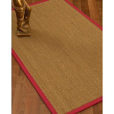 Mahaney Border Hand-Woven Beige/Red Area Rug Rug Size: Rectangle 5 x 8, Rug Pad Included: Yes