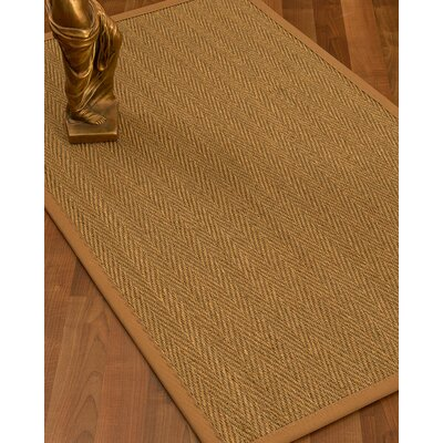 Mahaney Border Hand-Woven Beige/Sienna Area Rug Rug Size: Rectangle 5 x 8, Rug Pad Included: Yes
