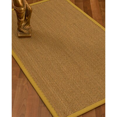 Mahaney Border Hand-Woven Beige/Tan Area Rug Rug Size: Rectangle 6 x 9, Rug Pad Included: Yes