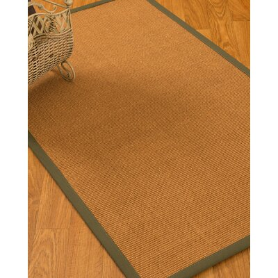 Kennell Border Hand-Woven Beige/Olive Area Rug Rug Size: Rectangle 5 x 8, Rug Pad Included: Yes