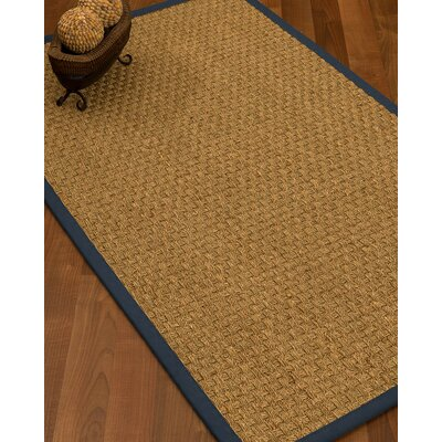 Antiqua Border Hand-Woven Beige/Marine Area Rug Rug Size: Runner 26 x 8, Rug Pad Included: No
