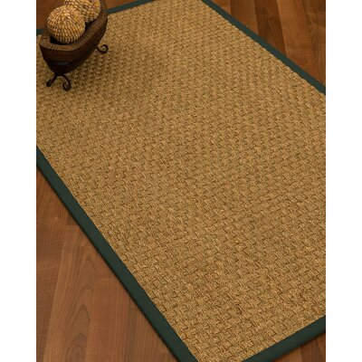 Antiqua Border Hand-Woven Beige/Metal Area Rug Rug Size: Rectangle 8 x 10, Rug Pad Included: Yes