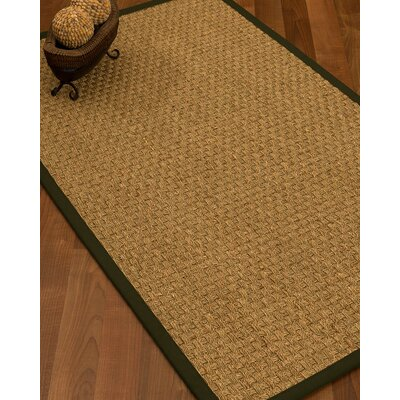 Antiqua Border Hand-Woven Beige/Moss Area Rug Rug Size: Rectangle 8 x 10, Rug Pad Included: Yes