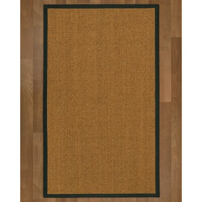 Asmund Border Hand-Woven Brown/Metal Area Rug Rug Size: Rectangle 5 x 8, Rug Pad Included: Yes