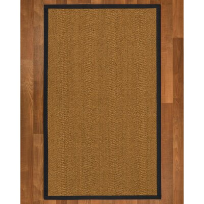 Asmund Border Hand-Woven Brown/Midnight Blue Area Rug Rug Size: Rectangle 6 x 9, Rug Pad Included: Yes