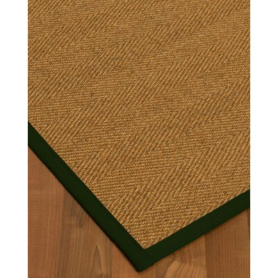 Asmund Border Hand-Woven Brown/Moss Area Rug Rug Size: Rectangle 4 x 6, Rug Pad Included: Yes