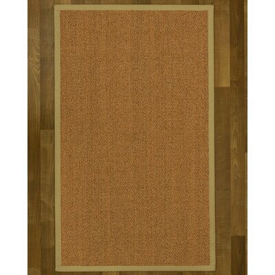 Asmund Border Hand-Woven Brown/Natural Area Rug Rug Size: Rectangle 3 x 5, Rug Pad Included: No