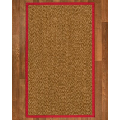Asmund Border Hand-Woven Brown/Red Area Rug Rug Size: Rectangle 5 x 8, Rug Pad Included: Yes