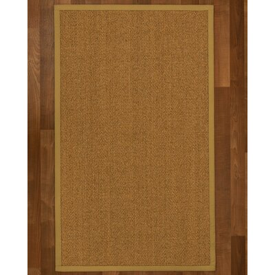 Asmund Border Hand-Woven Brown Area Rug Rug Size: Rectangle 5 x 8, Rug Pad Included: Yes