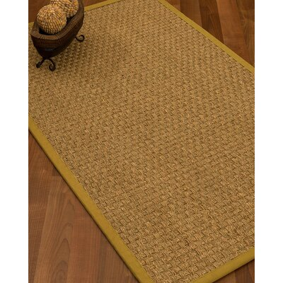 Antiqua Border Hand-Woven Beige/Tan Area Rug Rug Size: Rectangle 12 x 15, Rug Pad Included: Yes