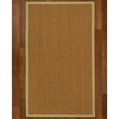 Asmund Border Hand-Woven Brown/Sand Area Rug Rug Size: Rectangle 5 x 8, Rug Pad Included: Yes