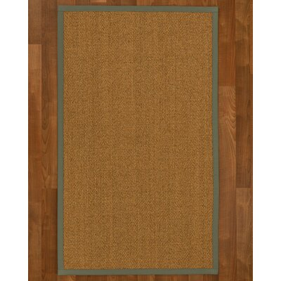 Asmund Border Hand-Woven Brown/Olive Area Rug Rug Size: Rectangle 6 x 9, Rug Pad Included: Yes