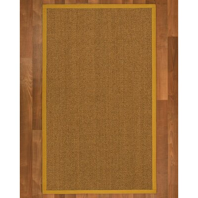 Asmund Border Hand-Woven Brown/Tan Area Rug Rug Size: Rectangle 5' x 8', Rug Pad Included: Yes