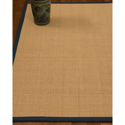 Chaves Border Hand-Woven Wool Beige/Marine Area Rug Rug Size: Rectangle 9 x 12, Rug Pad Included: Yes