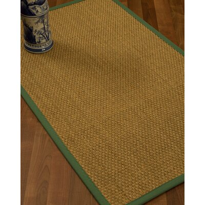 Rosabel Border Hand-Woven Beige/Green Area Rug Rug Size: Runner 26 x 8, Rug Pad Included: No