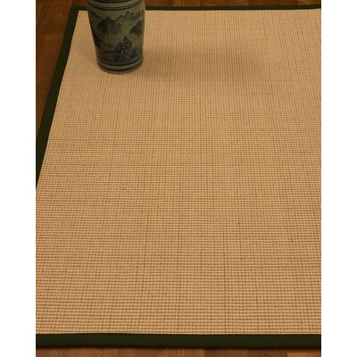 Chaves Border Hand-Woven Wool Beige/Moss Area Rug Rug Size: Rectangle 5 x 8, Rug Pad Included: Yes
