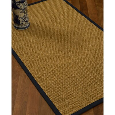 Rosabel Border Hand-Woven Beige/Midnight Blue Area Rug Rug Size: Rectangle 9 x 12, Rug Pad Included: Yes